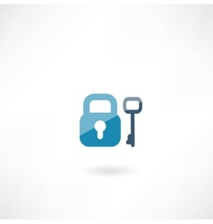 lock with key icon vector image vector image