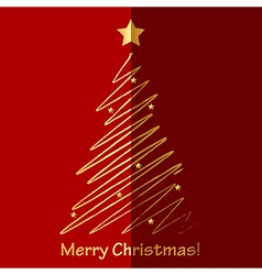 Merry Christmas card with fir tree vector image vector image