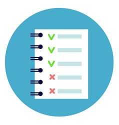Notebook list with green and red tips check points vector