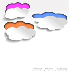 Paper white clouds background vector image