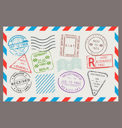 post stamp flat cartoon set vector image