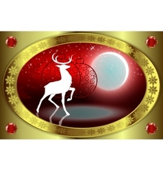 Red Christmas background with deer vector image vector image