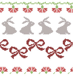 seamless cross stitches easter pattern on white vector image vector image