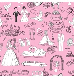 Seamless pattern with wedding icons vector image vector image