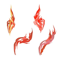 Set flame Fire on a white background vector image vector image