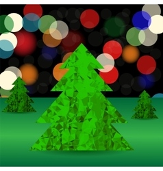 Set of green polygonal trees vector
