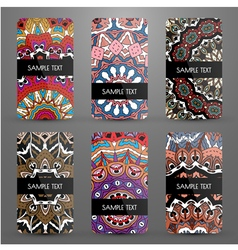 Set with business cards with ornamental pattern vector image vector image