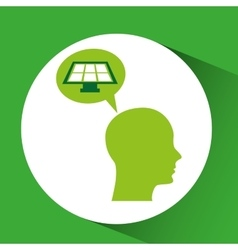 Silhouette green head solar panel vector