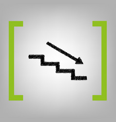 Stair down with arrow black scribble icon vector