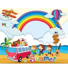 Summer theme with children and van vector