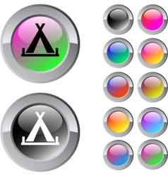 Tent multicolor round button vector image