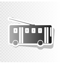Trolleybus sign new year blackish icon on vector