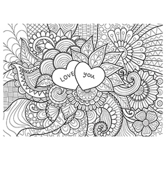 two hearts coloring vector image vector image