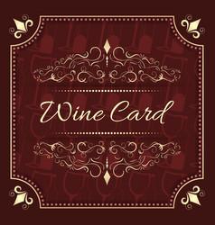 wine card menu design with vintage ornate frame vector image vector image