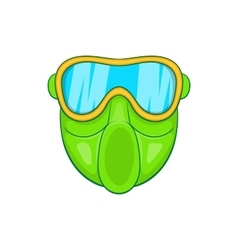 Green paintball mask icon cartoon style vector