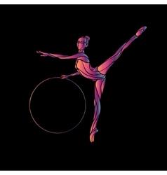 Rhythmic Gymnastics with Hoop Silhouette on black vector image