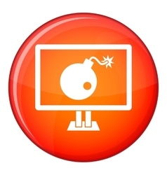 Bomb on computer monitor icon flat style vector