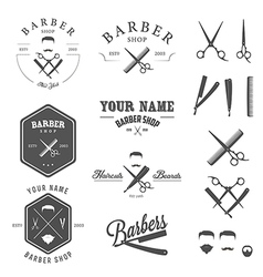 Set of vintage barber shop design elements vector image