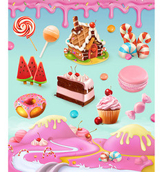 Confectionery and desserts cake cupcake candy vector