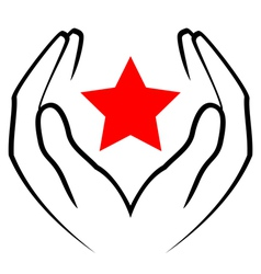 icon - hands holding red star vector image