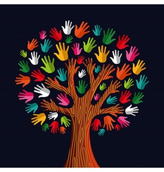 Colorful solidarity tree hands vector