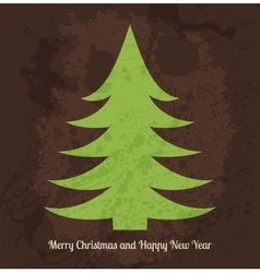 Christmas card with stylized green fir tree for vector image