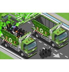 Isometric garbage truck with container in front vector