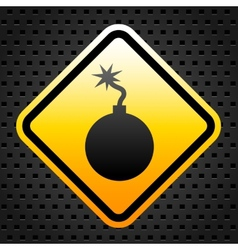 Warning sign with bomb vector