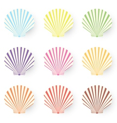 Cute nine sea shells collection isolated on white vector