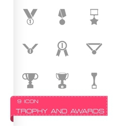 Black trophy and awards icon set vector