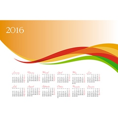 Template of 2016 calendar on orange background vector
