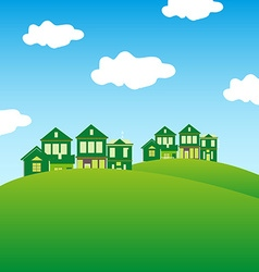 Green houses background vector