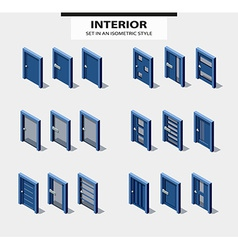Set of doors in isometric style with design vector