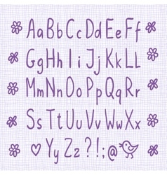 Hand drawn thin font vector