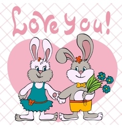 Bunnies love girl and boy vector