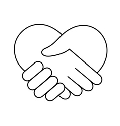 Linear heart made of hands icon vector