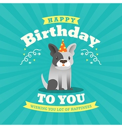 Cute bulldog cartoon birthday card background vector