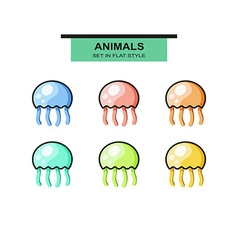 Set of jellyfish in flat style with strokes vector