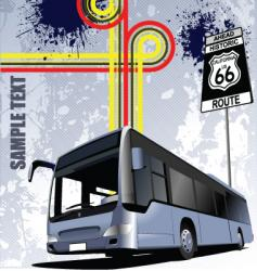 bus with background vector image