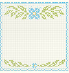 Cross-stitch embroidery - flowers and leaves vector