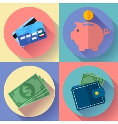 Icon set wallet credit card piggi and vector