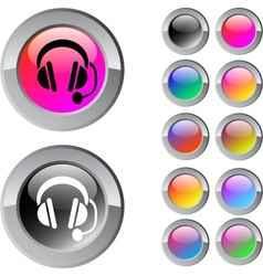 Call center multicolor round button vector image