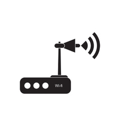 Flat icon in black and white wi fi modem vector