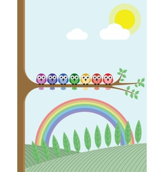 Bird tree rainbow vector