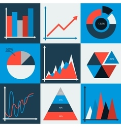Set of business charts statistic diagrams vector