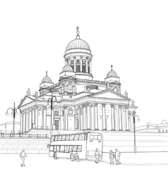 Sketch of the cathedral in helsinki vector