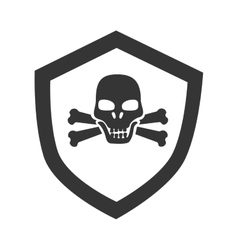 Danger badge skull icon vector