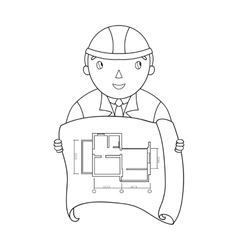 Architectz with technical drawing icon in outline vector