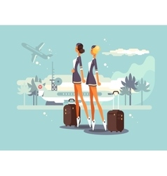 Beautiful flight attendants vector