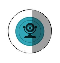 Blue symbol computer camera icon vector